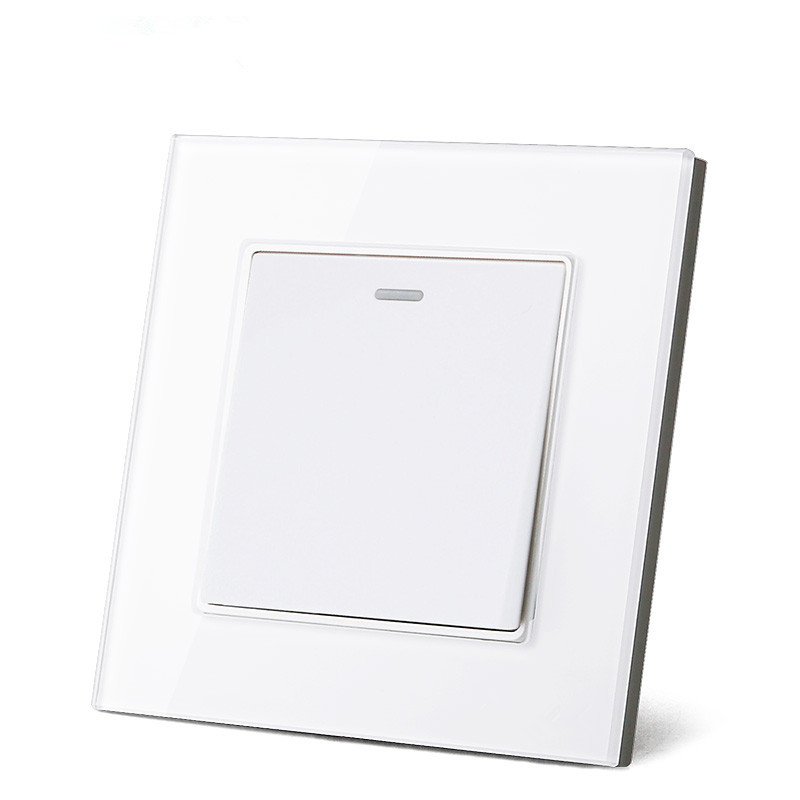 UK Standard push button Switch,1 gang 2 way Crystal Glass panel wall light Switch,16A AC110~250V lamp button switch