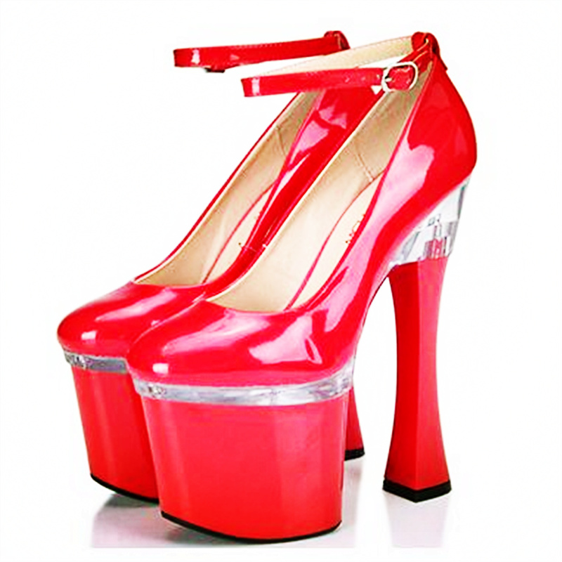19CM High Fashion Woman 9CM Platform High Heels Patent PU Big Pumps Female Sexy Round Toe Shoes Euro Size 34-44 Ankle Strap big size 32 44 ankle strap patch color super hoof high heels platform shoes woman spring summer pumps party dress shoes sexy