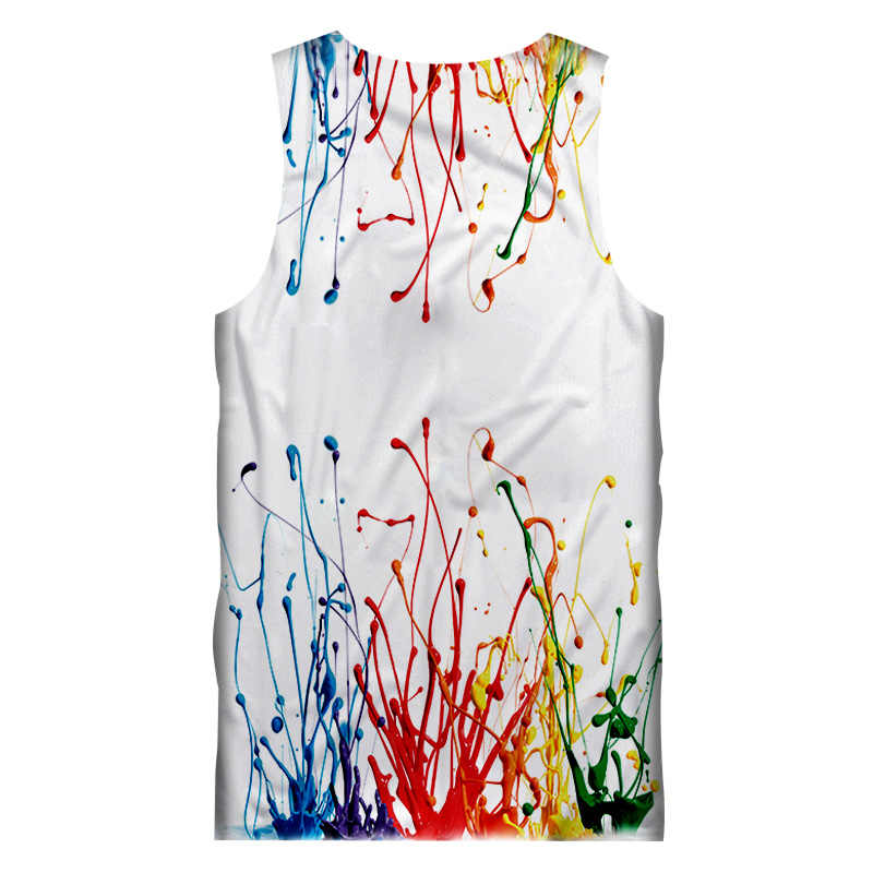 Ujwi Tank Top Putih Fashion 3D Cetak Lukisan Tanktops Remaja Hip Hop Olahraga Kaos Tanpa Lengan Unisex Kaus Dalam