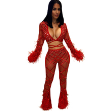 new womens sequins tassel jumpsuit two-piece sexy perspective pants nightclub lace
