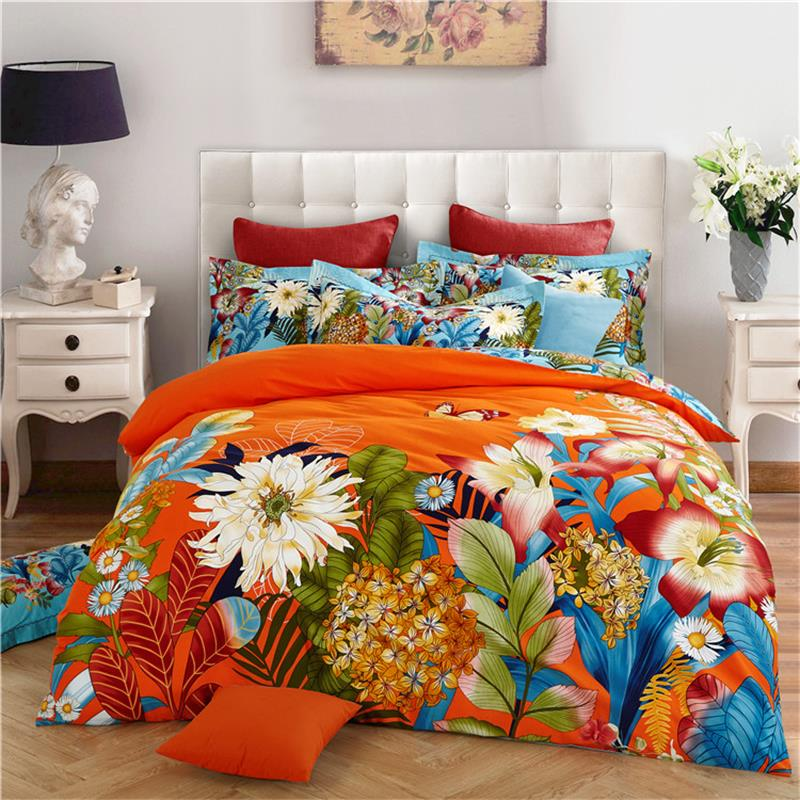 Bright Colored Flowers Orange Pink Bedding Set Queen King Size Bed ...