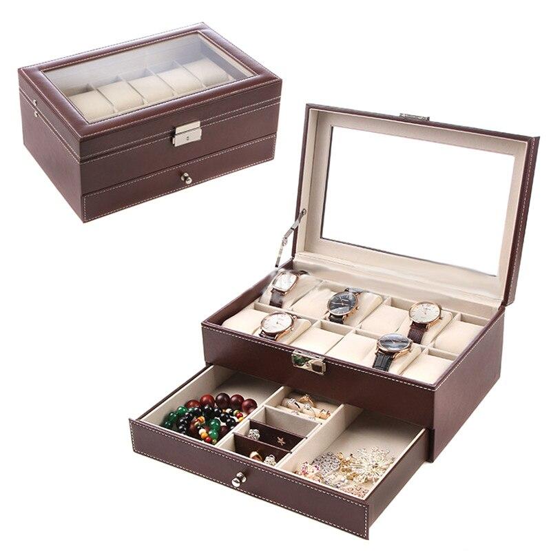 Boîte De Rangement De bijoux En Cuir PU Organisateur Présentoir pour Montre Bague Boucle D'oreille Collier Bracelet CX17
