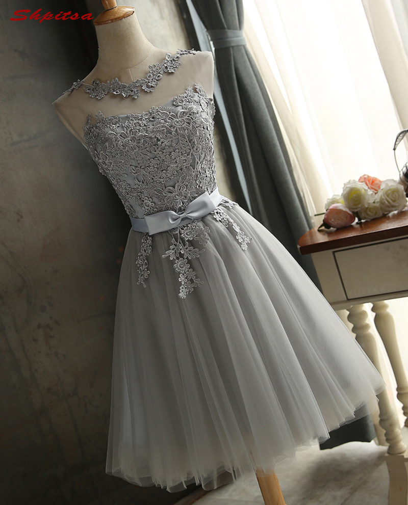 Silver Gray Short Homecoming Dresses 8th Grade Prom