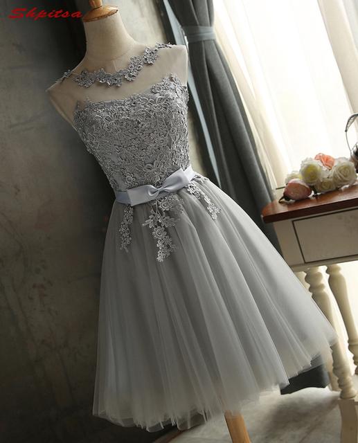 Silver Gray Short Homecoming Dresses 8th Grade Prom Dresses Junior High Cute Graduation Formal Dresses