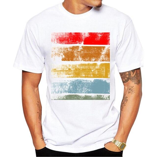2018 Thời Trang Retro Gỗ/Ghi Printed T shirt Men Ngắn Tay Áo Giản Dị t-shirt Hipster Fractal Pattern tees Mát Tops