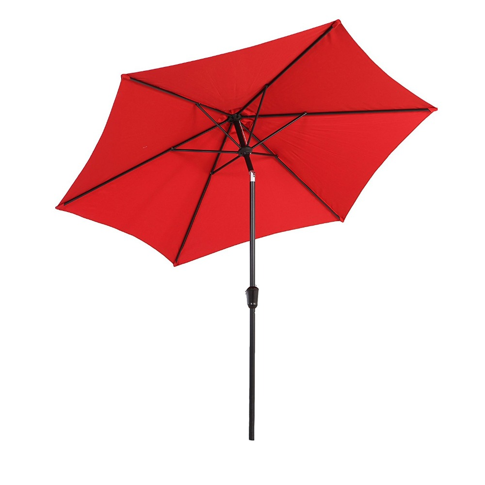 Grand patio 9 Feet Patio Umbrella, Outdoor Market Umbrella with Push Button Tilt and Crank, 6 Ribs, Brown And Red 2 7 m outdoor umbrellas patio umbrella column banana straight with a hand of iron