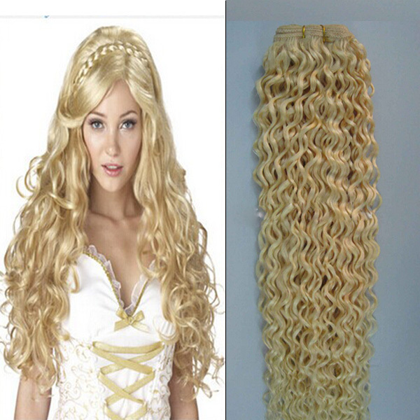 Blonde Hair Weaving Color 613 Double Drawn Jerry Curly Hair