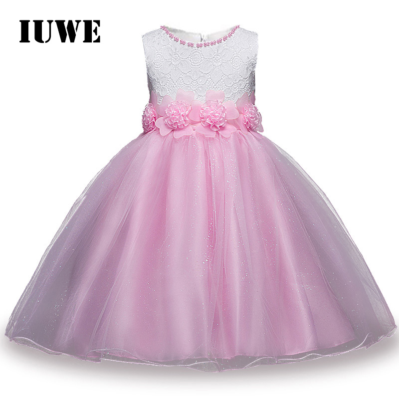 2017 Brand New Flower Baby Girl Dresses Wedding Party Pink Dress for Children Christmas Evening Ball Gown Tutu Kids Clothes 8 10