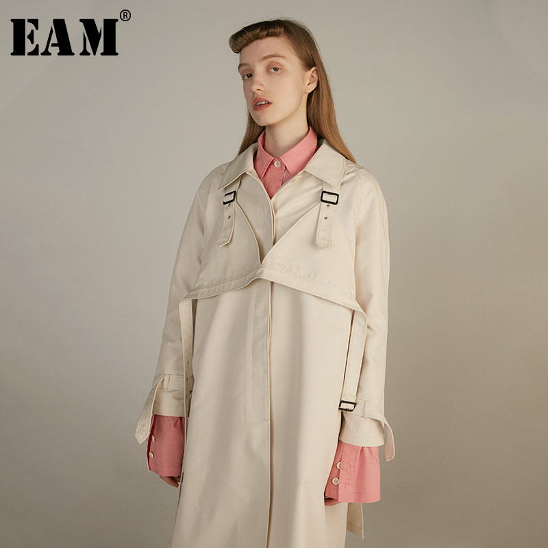 [EAM] 2019 New Spring Summer Turn-down Collar Long Sleeve Beige Big Size Personality Windbreaker Women   Trench   Fashion JY044