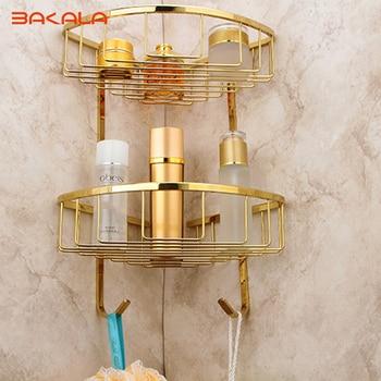 BAKALA Golden finish decoration Home Storage Holder metal accessories  Brass Double Layer Bathroom Accessories Rack  BR-6705