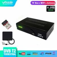Vmade Fully HD Digital DVB T2 Terrestrial TV Receiver Tuner Support AC3 HD 1080p H.265 DVB T2 Set Top Box+USB WIFI+TV Antenna