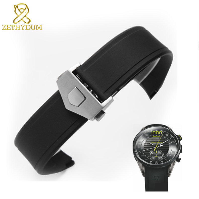 Silicone Bracelet Watch 22mm Black Waterproof Rubber Watch Strap Straps For Wrist Watches Watch Accessories Pin Buckle