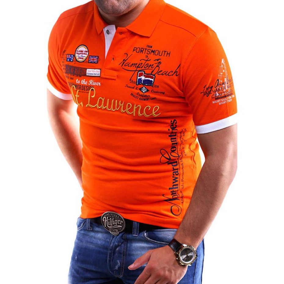 Zogaa 2019 Homens Da Moda Camisa Pólo Algodão Marca Camisas Pólo Para Homens Roupas Casuais Camisa Letra Impressa Encabeça Polos de Verão homens