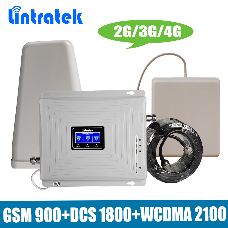 Lintratek Tri Band Mobile Signal Repeater 2G 3G 4G GSM 900/DCS LTE 1800/WCDMA UMTS 2100MHz Cellular Signal Booster Amplifier Set