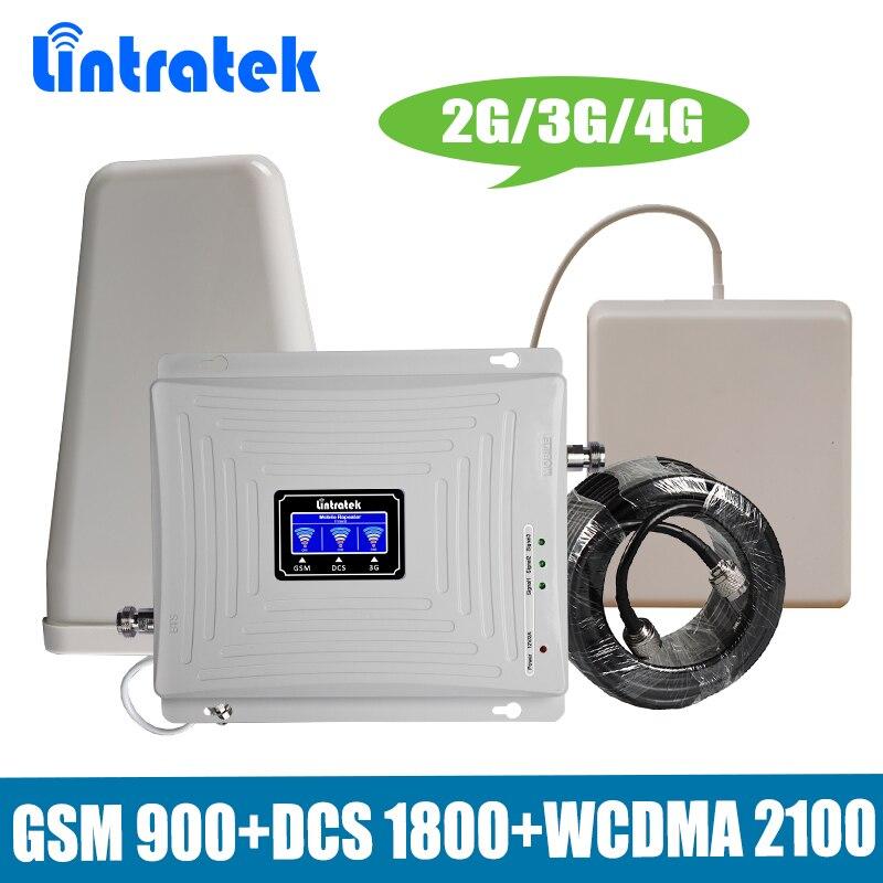 Tri Band Sinal de Celular Repetidor Lintratek 3 2g g g 4 GSM 900/DCS 1800 LTE/WCDMA UMTS 2100 mhz Amplificador de Sinal Celular Impulsionador Conjunto
