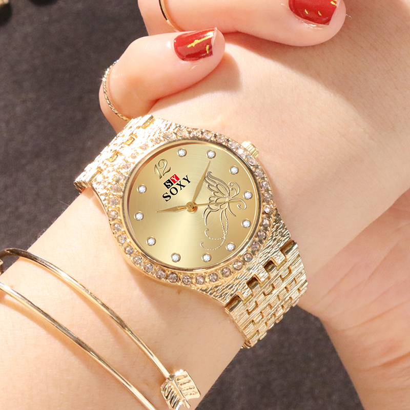 SOXY Women's Watches Flower Butterfly Designed For Women Fashion Rhinestone Gold Wrist Watch Luxury Ladies Watch Bracelet Clock