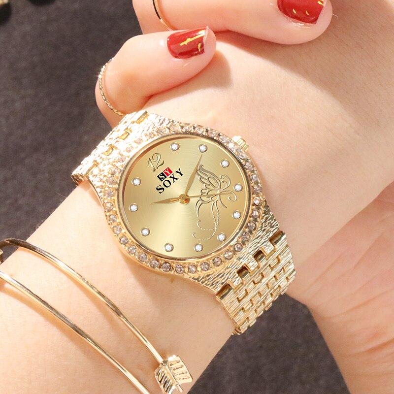 SOXY Women's Watches Flower Butterfly Designed For Women Fashion Rhinestone Gold Wrist Watch Luxury Ladies Watch Bracelet Clock