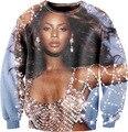 Mulheres 3D Beyonce Dangerously amor de Super Star Beyonce Giselle Knowles com a pérola Crewneck suores Vestidos