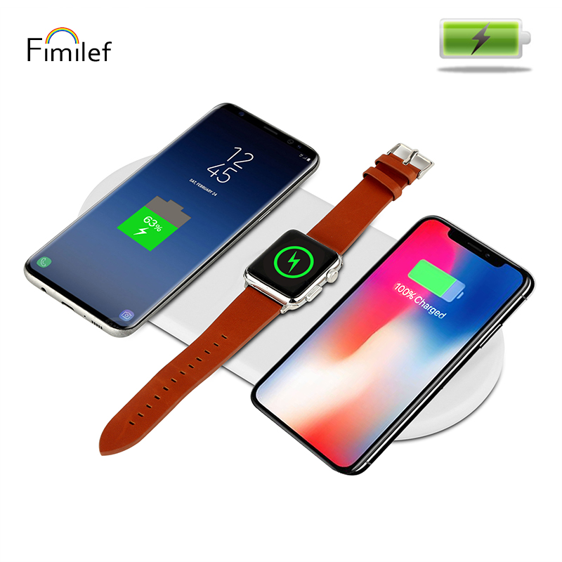 Fimilef 3 en 1 QI chargeur sans fil Standard USB Charge rapide pour je regarde téléphone Charge Dock Pad pour iPhone 8 X Samsung Galaxy S8