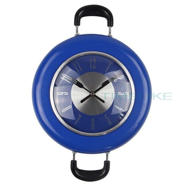 High Quality Wall Clock Metal Frying Pan Design 10 Inch Clocks Kitchen Decoration Novelty Art Watch Relogio pared Horloge Klok