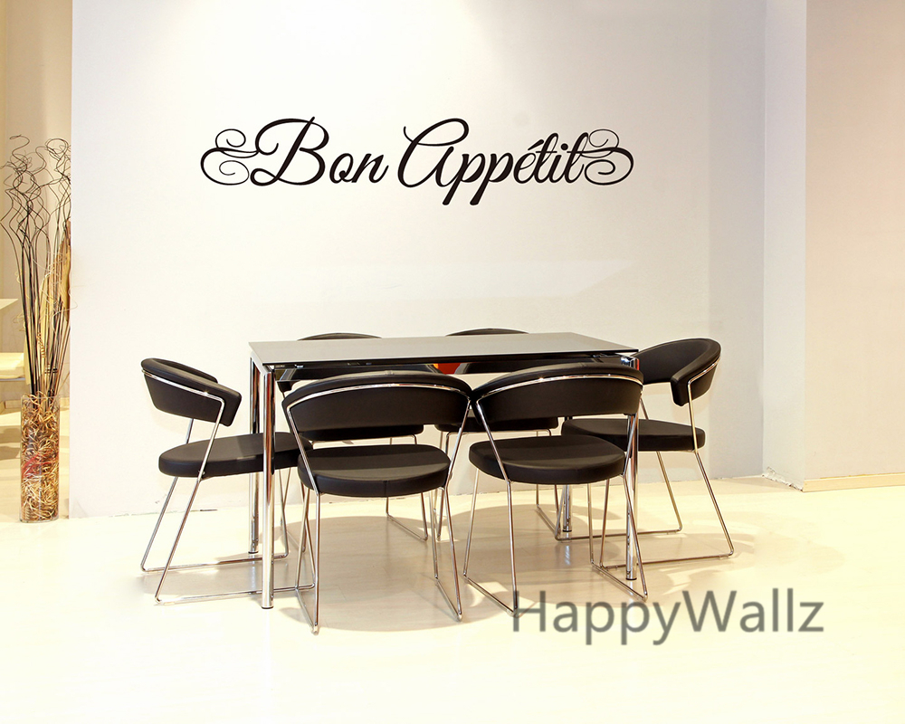 Bon Appetite Wall Quote Sticker DIY Dining Room Kitchen Art Decal Home