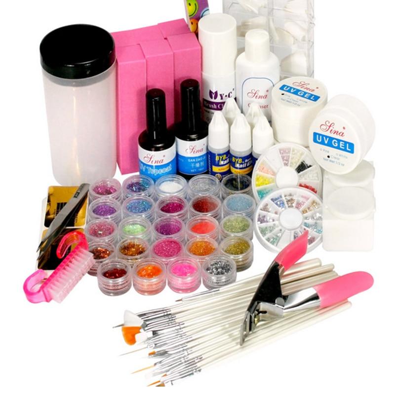 acrylic nail kit new uv gel nail art tools polish set diy. Black Bedroom Furniture Sets. Home Design Ideas