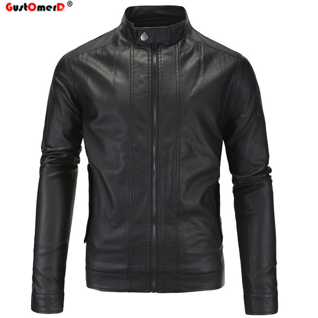 GustOmerD Solid Stand Collar Jacket Men Fashion Brand Warm Winter Motorcycle Casual Mens Leather Jackets Coats Oversize 5XL