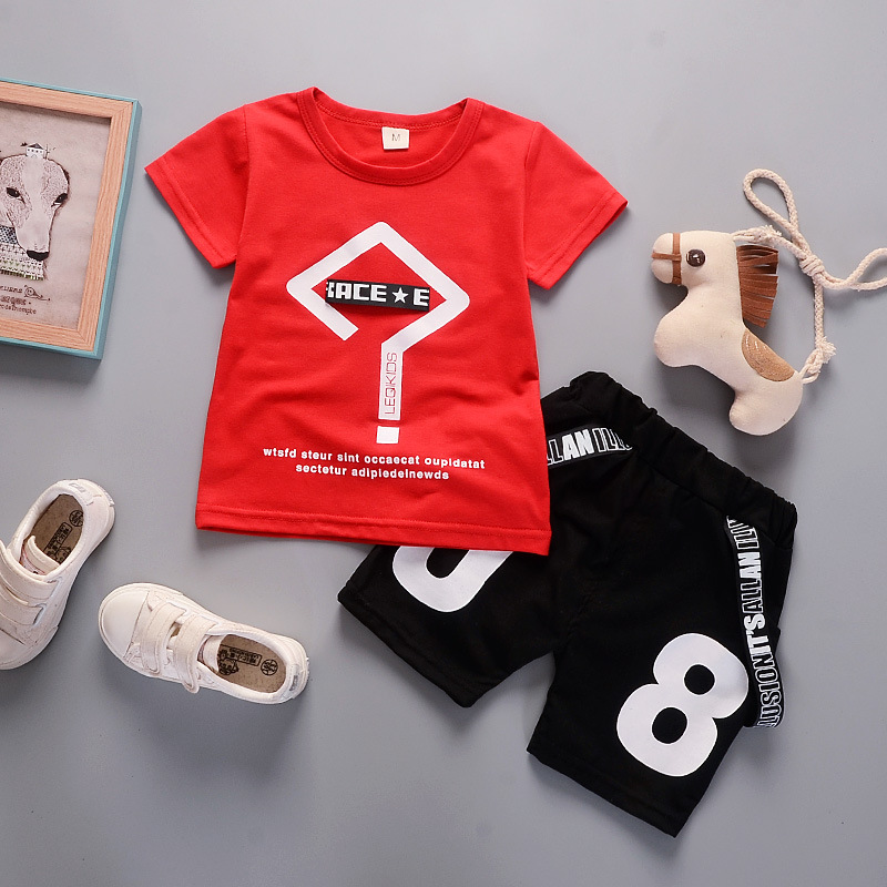 New Summer Boys Clothing Sets Kids  Boys Geometry Tops T-shirt+Digital Shorts 2 Pcs