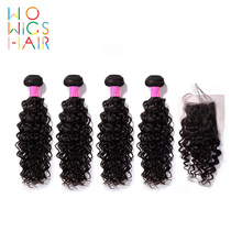 WoWigs Hair Brazilian Remy Curly 4 / 3 Bundles Deal With Top Lace Closure  Natural Color 1B