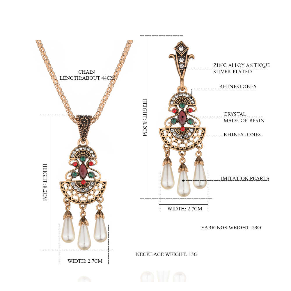 Vintage Gold Ethnic Jewelry Crystal Geometric Pearls Necklace Sets Drop Earring and Necklace Set for Women Bridesmaid Wedding