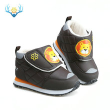 Kids winter boots late autumn boot little girl boy short style warm shoe fur insole cute animal pate design colorful free shippi