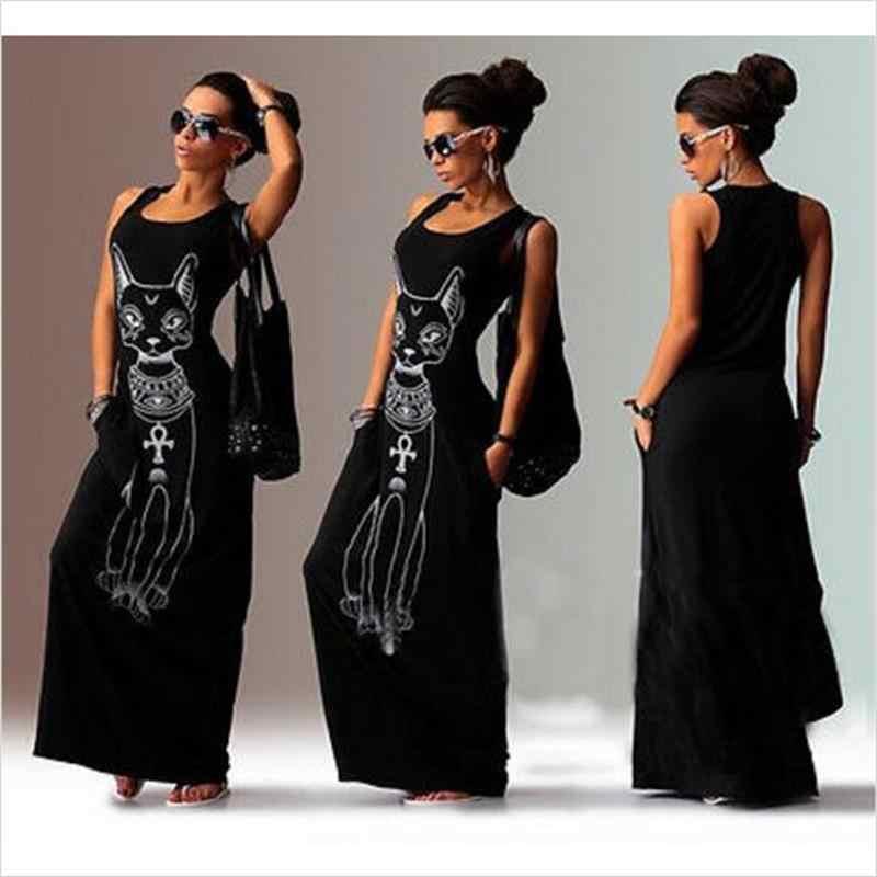 IYAEGE/летнее пляжное платье для женщин 2019, длинное платье макси с принтом кота, сексуальное вечернее платье без рукавов, туника, халат, Femme, сарафан, Vestidos