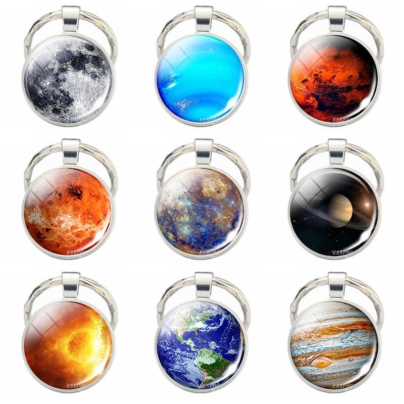 Solar System Planeten Keychain Galaxy Nebula Foto Glas Cabochon Metall-schlüsselanhänger Solar System Schmuck Handgemachte Geschenk für Ihn für Ihre