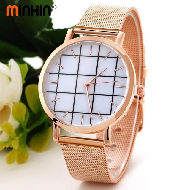 MINHIN Women Stylish Bracelet Watches Grid Design Dial Clock Female Steel Strap