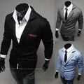 Мода нагрудные кожаный лейбл малых трикотаж мужские костюмы