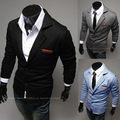 La solapa de la moda etiqueta de cuero trajes pequeños hombres de punto
