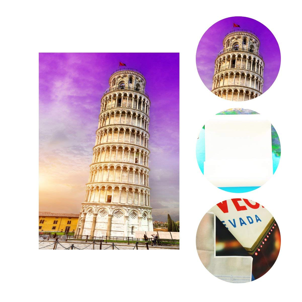 5x7ft Architectural Landscape Backdrop Leaning Tower of Pisa Studio Photography Background Ultra Violet Color Sky Backdrop in Photo Studio Accessories from Consumer Electronics