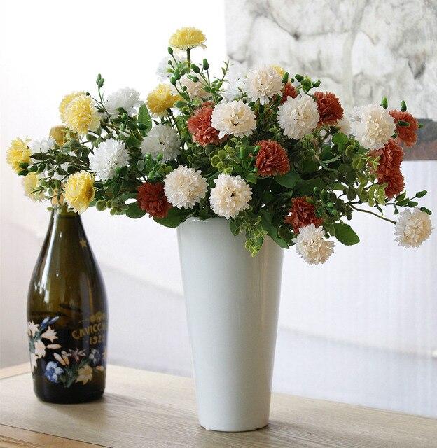 266b5613d 4 Clors 1 Bando Cravo Flor Artificial Falso Buquê Lilás Arranjo de  Decoração para o Casamento