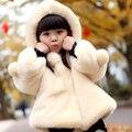 Девушки меховая куртка для девочек одежда малыша осень зима теплые шерстяные пальто с капюшоном ребенка куртка шерстяное пальто