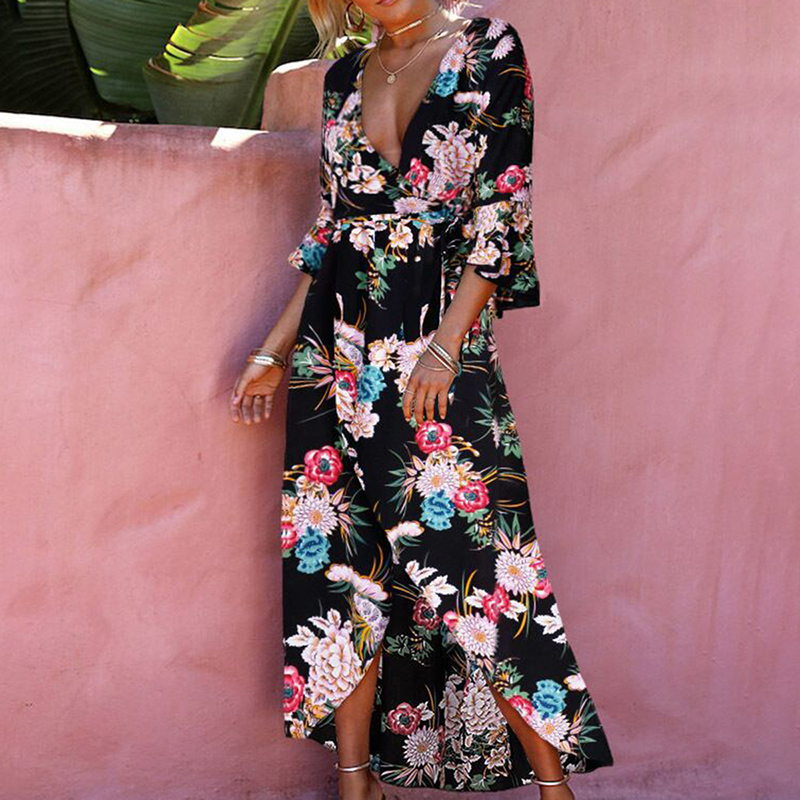 Summer Women Dress Sexy Deep V Neck Floral Print Flare Sleeve Bodycon Dresses Female A Line Intersecting Hem Beach Boho Dress