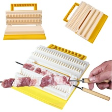hot deal buy fast meat skewers maker double row bbq meat skewer machine outdoor camping barbecue tools kitchen accessories cooking gadgets