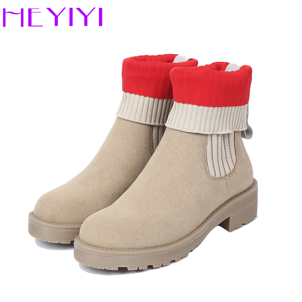 HEYIYI Women Boots Sock Knitted Ankle Shoes Square Heels Platform Rubber Slip-on Folding Edging Comfortable Mix-color Shoes