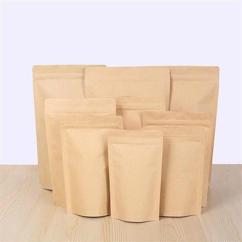 500ピース/ロットジッパーブラウンクラフトアルミナイジングポーチ、立ち上がっクラフト紙アルミ箔ジップロックバッグジッパー付きジップロックグリップシールバッグ食品グレード  グループ上の ホーム&ガーデン からの 保存袋 の中 1
