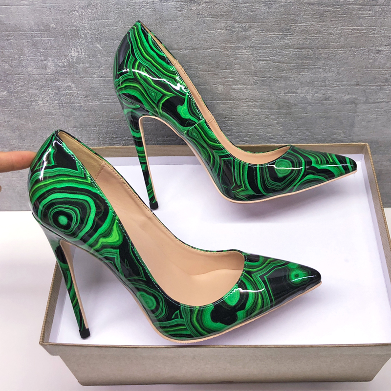 2019 Fashion free shipping Women lady green Patent leather Poined Toe Stiletto high heel pump HIGH HEELED SHOES Wedding shoes in Women 39 s Pumps from Shoes