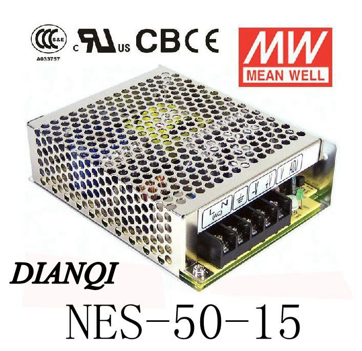 Original MEAN WELL ac to dc power supply power supply unit NES-50-15 50W 15V 3.4A MEANWELL meanwell 5v 130w ul certificated nes series switching power supply 85 264v ac to 5v dc