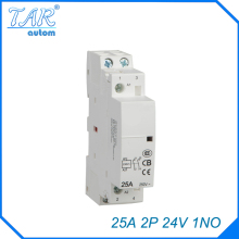24V Coil 25A  1NO 2 Pole 2P Household AC Contactor Modular 35mm DIN Rail Mount 25Amp стоимость