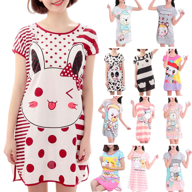 Womens Summer Short Sleeve Sleep Dress Lovely Cartoon Pattern Printed Sleepshirt Plus Size Oversized Nightdress N9_B