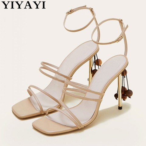 String Bead Women Sandals Runway Square Toe Summer Sandals Narrow Bands Thin High Heels Party Shoes White Shoes Sandalias Mujer Pakistan