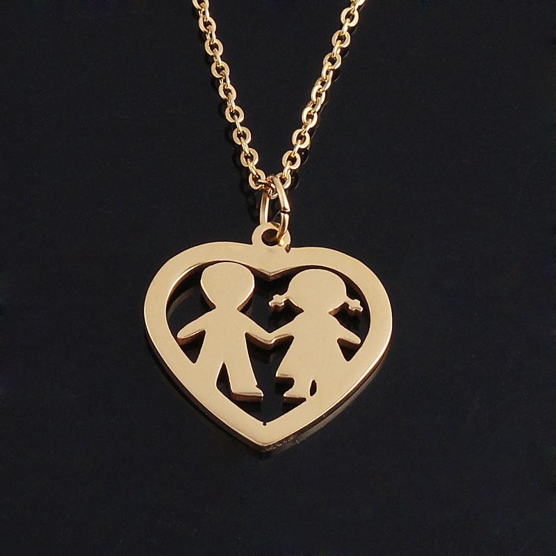 Statement Bijoux Valentine 's Day Couple Avatar Necklace Pendant Famliys  Lovers Pendant Choker Collier for Wedding Gfit