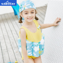 SABOLAY Girls One-Piece Swimming Suit Bow Summer Buoyant Life Vest Floatation Kids Swimwear Beach Surfing Children's Swimsuit sabolay girls buoyant swimming suits children one piece swimwear baby life saving conjoined vest floating swimsuit rash guard
